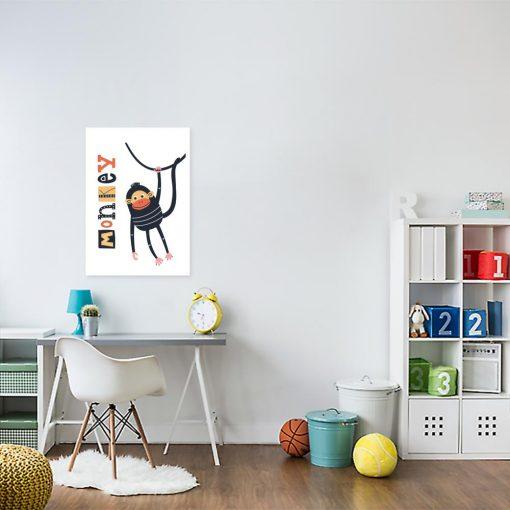plakat dziecięcy z małpką