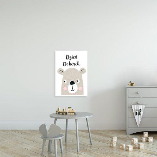 plakat dziecięcy z motywem niedźwiadka