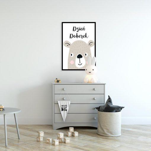 plakat dla dziecka z niedźwiadkiem