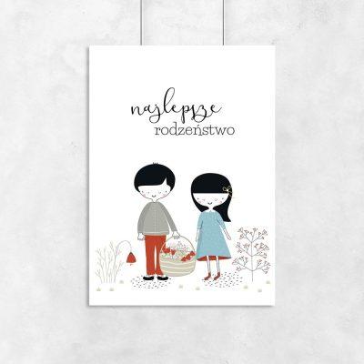 plakat do pokoju dziecka z motywem rodzeństwa