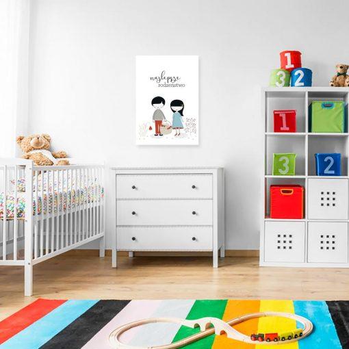 plakat dla dziecka z chłopcem i dziewczynką