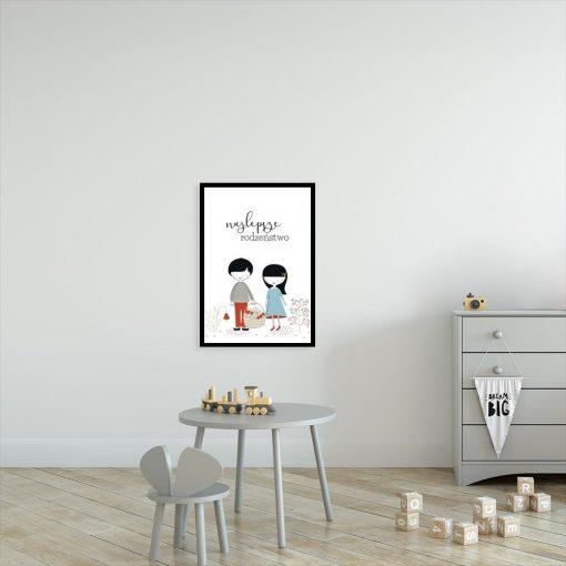 plakat dla dzieci z napisem Najlepsze rodzeństwo