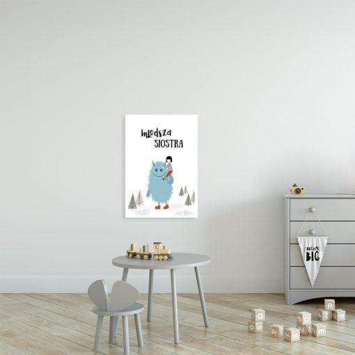plakat dziecięcy z napisem Młodsza siostra