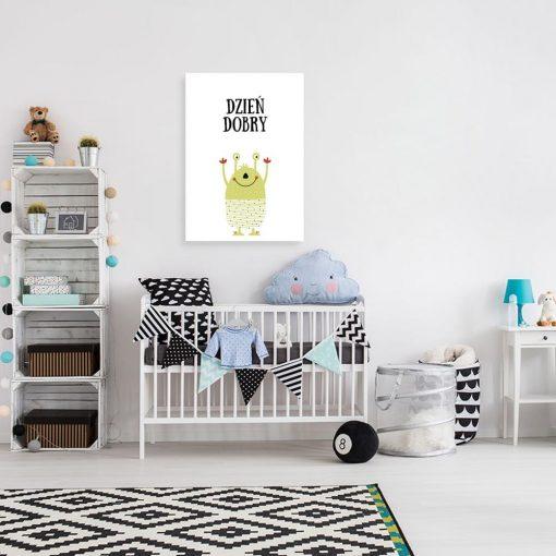 plakat dziecięcy z wesołym kosmitą