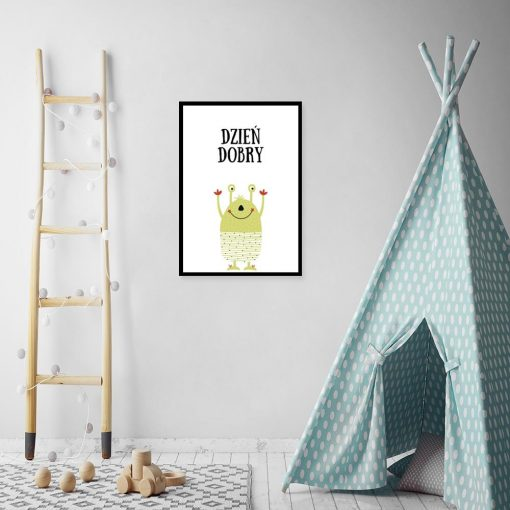 plakat dla dziecka z napisem Dzień dobry