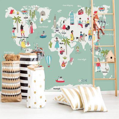 tapeta z mapą świata