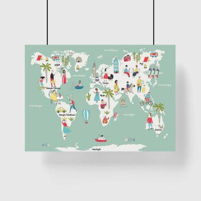 plakat dziecięcy z kolorową mapą