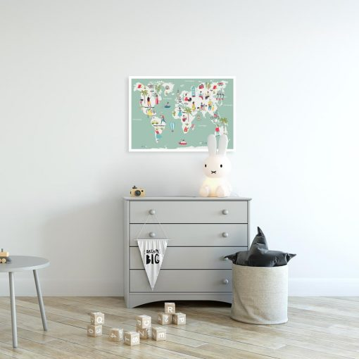 plakat z motywem mapy do pokoju dziecka