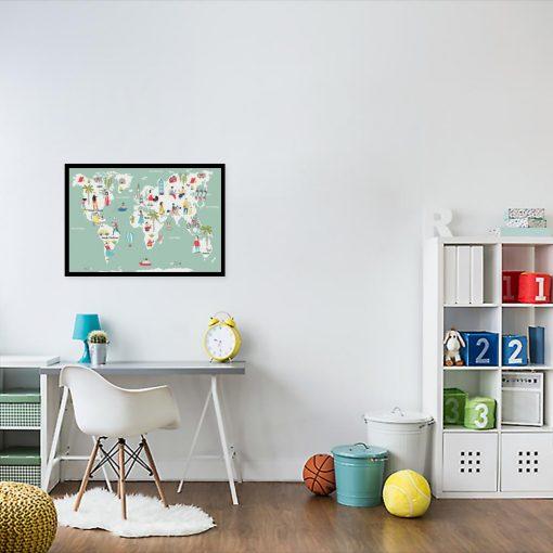 plakat dla dziecka z mapą