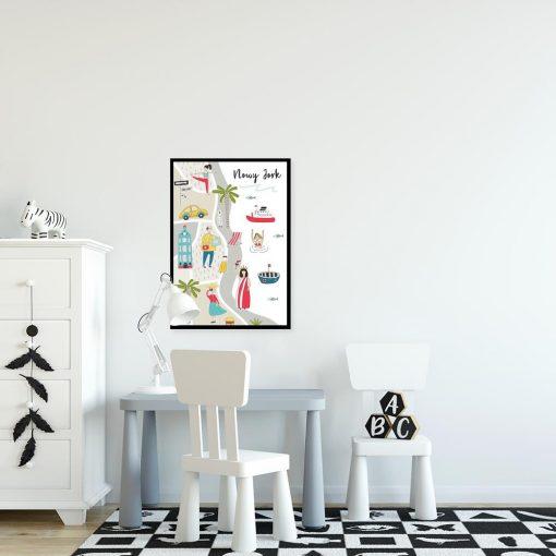 plakat dla dziecka z motywem mapy