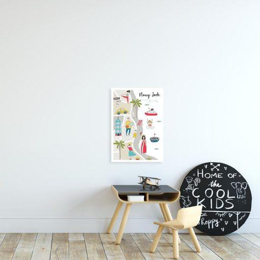 plakat dla dziecka z mapą obrazkową