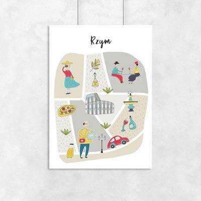 plakat z motywem Rzymu