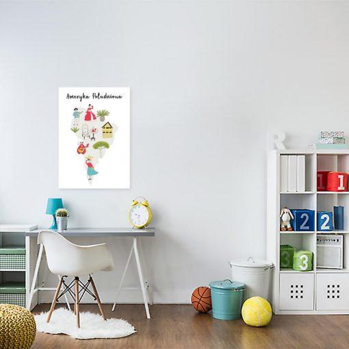 plakat edukacyjny dla dziecka z mapą Ameryki Południowej