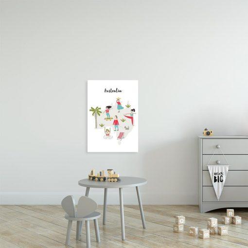 plakat dla dziecka z kolorowymi postaciami
