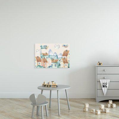 obraz do pokoju dziecka z miastem