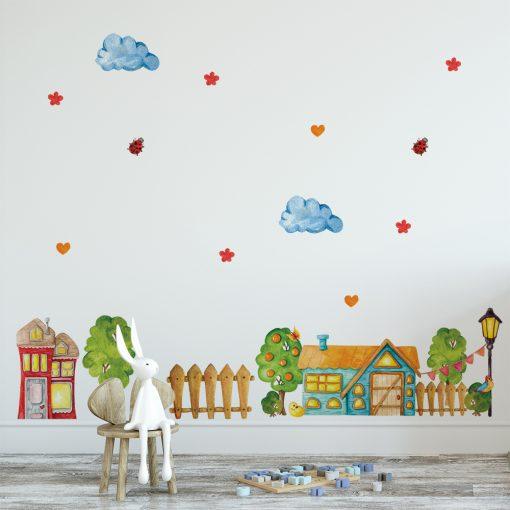 naklejka z kolorową chatką dla dziecka
