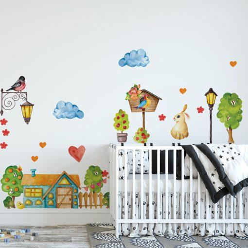 naklejka z zajączkami do pokoju dziecka