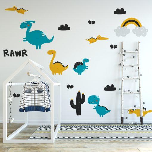 naklejka ścienna do pokoju dziecka z dinozaurami