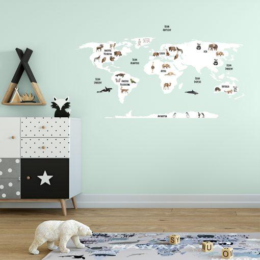 naklejka na ścianę mapa dla dzieci