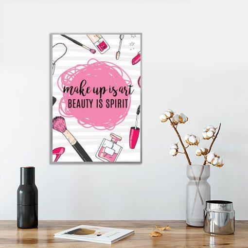 różowy plakat make up is art