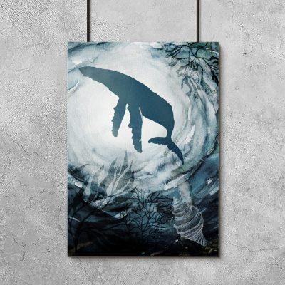 niebieski plakat wieloryb