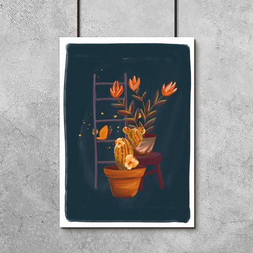 granatowy plakat z motywem kwiatów
