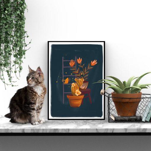 plakat roślinki i drabinka