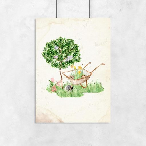 plakat drzewo i taczka