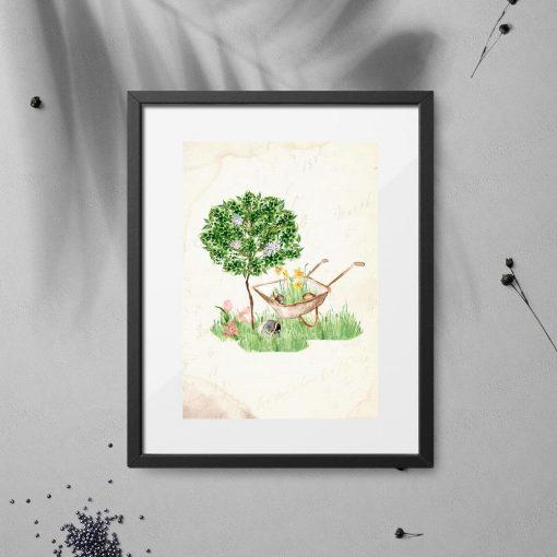 plakat drzewko i taczka