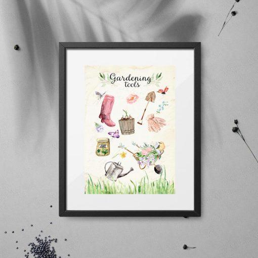 plakat beżowy z przyborami ogrodniczymi