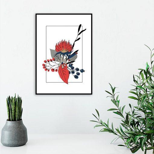 plakat czerwone rośliny