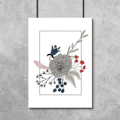 plakat z rysunkiem bukietu roślin