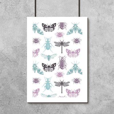 fioletowo-turkusowy plakat w owady