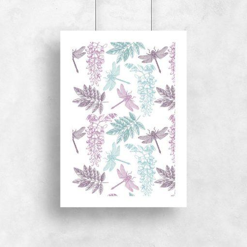 plakat z motywem liści i ważek