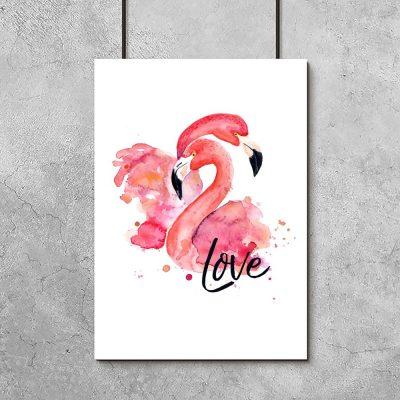 plakat love flamingi