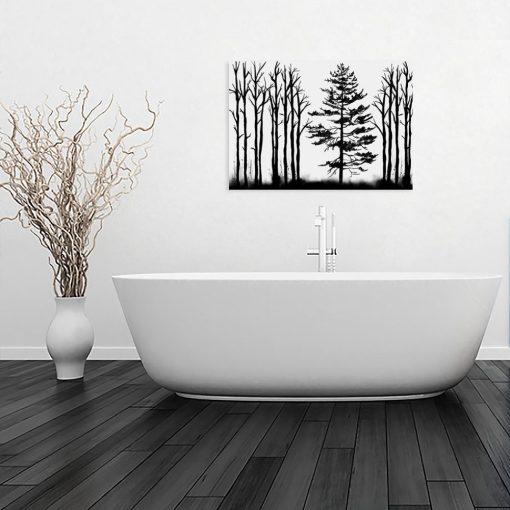 minimalistyczny obraz z drzewami