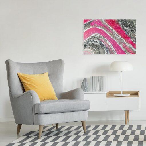 obraz różowy i abstrakcyjny