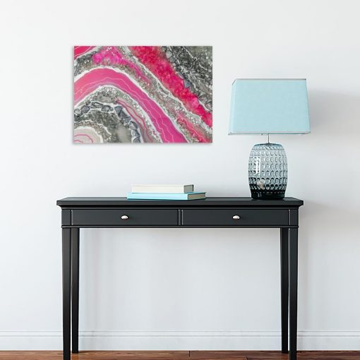 różowy obraz geode art
