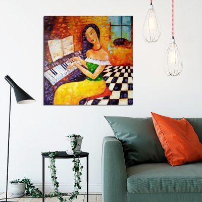 obraz z kobietą i fortepianem