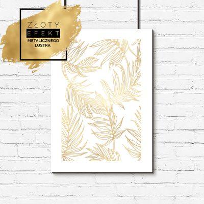 plakat ze złotymi, tropikalnymi liśćmi