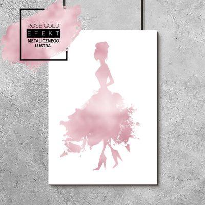 plakat różowe-złoto
