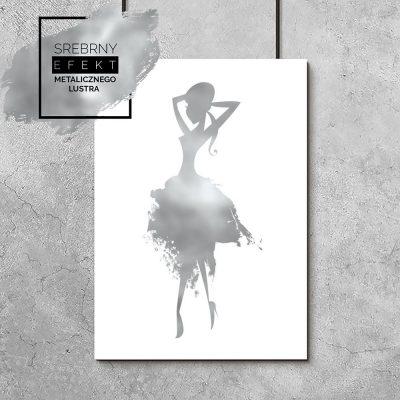 plakat przedstawiający srebrną ilustrację kobiety