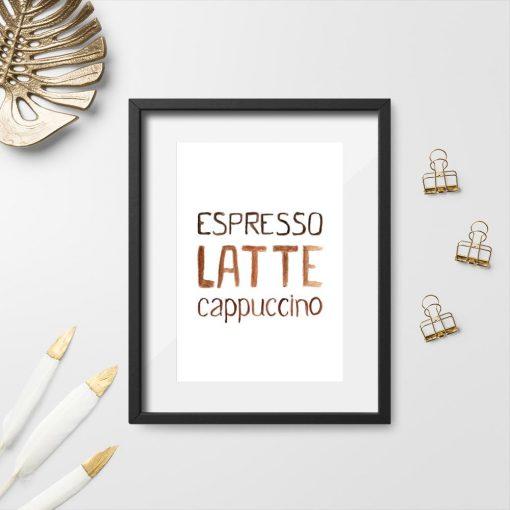 dekoracja z kawą jako plakat do kawiarni