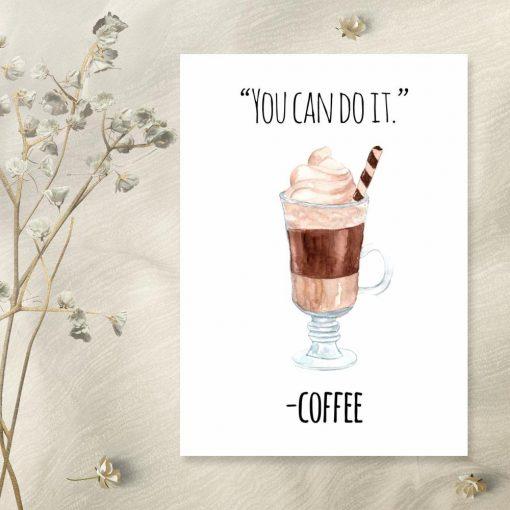 plakat z kawą jako dekoracja do kuchni