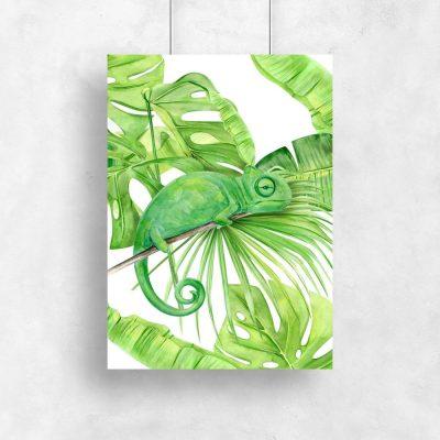pionowy plakat zielony z kameleonem