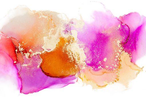 fototapeta akwarelowa różowa i pomarańczowa