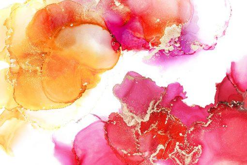 Różowo-pomarańczowa abstrakcja na fototapecie
