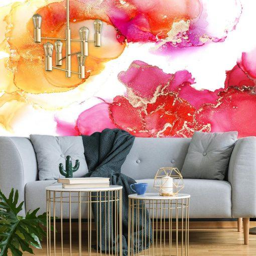 Abstrakcyjna tapeta w kolorach różu i pomarańczu