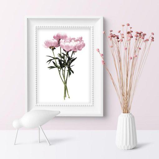 minimalistyczny plakat ścienny z kwiatami