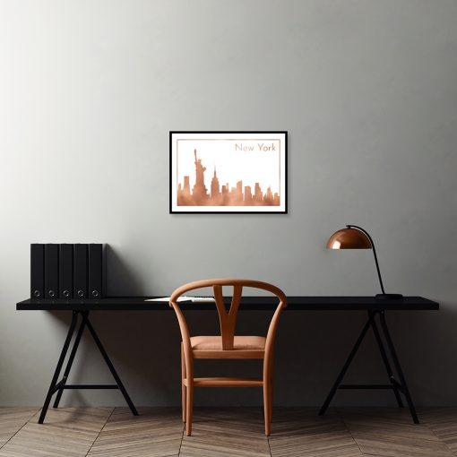 plakat z miedzianą ilustracją miasta